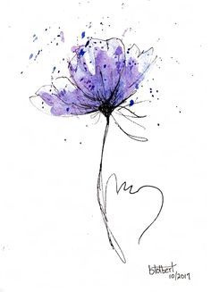 Poppy Flower Water Color Hand Painted Original Watercolor Art Painting Pen and Ink Blue Purple Poppy Flower drawing watercolor Watercolor Art Paintings, Watercolor Cards, Watercolor Flowers, Watercolor Tattoo, Original Paintings, Drawing Flowers, Painting Flowers, Original Artwork, Ink Painting