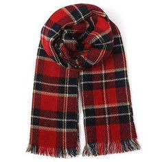 Red Wrap Scarf in Check Pattern   EUR 19.18