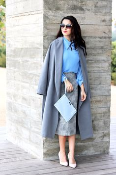 Cool Tone Colors with Pastel Tone Colors. Grey Trench Coat. Light Blue Blouse. Light Grey Pencil Skirt. Light Pink Pumps. Work Wear. Office Outfits. Sophisticated Style.