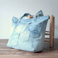 XXL tote beach bag - recycled light blue canvas jeans - large beach bag - weekend bag - big shopper by Lowieke on Etsy