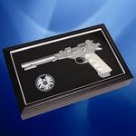 WANT!!!!  Nick Fury Shield Pistol Prop Replica Nick Fury Shield Pistol Prop Replica. Based on the classic pistol wielded by Nick Fury in the classic Marvel Comics illustrated by the legendary Jim Steranko, this prop replica pistol looks like it was pulled right off the cover of Nick Fury, Agent of S.H.I.E.L.D.