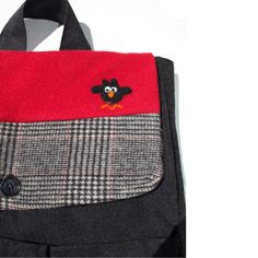Black and Red Owl Backpack/School Bag by Tweedable on Etsy, $45.00
