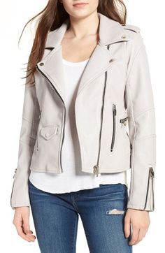 Free shipping and returns on BLANKNYC 'Easy Rider' Faux Leather Moto Jacket at Nordstrom.com. Cut from deliciously soft pebbled faux leather, this slim-cut jacket adds instant edge to any look. Classic moto detailing from epaulets and snap-down lapels to glossy zip detailing and articulated shoulders and elbows in smooth faux leather contribute to the authentic feel of this wardrobe-staple style.