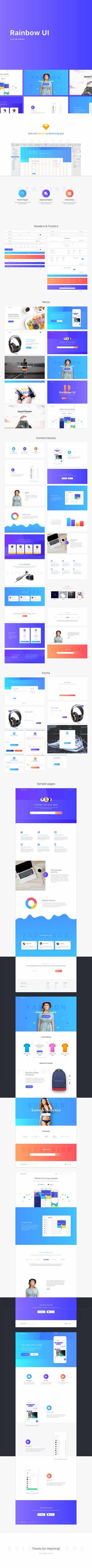 Epic Rainbow Kit - Stripe inspired Sketch based Landing Page UI Kit Epic Rainbow kit is a fresh, stylish and modern UI kit, carefully crafted to help you build amazing landing pages in Sket Sketch Photoshop, Ui Kit, Landing, Rainbow, Base, Templates, Inspired, Inspiration, Rain Bow