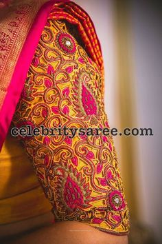 Quarter sleeves blouse designs, cut work blouse, elbow length blouse looks very formal and elegant for any official parties and gatherings. Cutwork Blouse Designs, Wedding Saree Blouse Designs, Pattu Saree Blouse Designs, Fancy Blouse Designs, Lehenga Blouse, Cut Work Blouse, Hand Work Blouse Design, Stylish Blouse Design, Mirror Work Blouse
