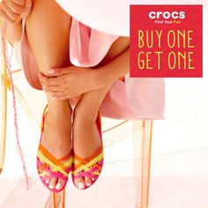Check out Crocs' BUY 1 GET 1 Promo!  Promo Details: 1. Colors and Sizes may differ per store. 2. Selected styles and color ONLY. Styles available - Gianna, Adrina, Huarache and Stretch Sole. 3. Lower priced item is FREE.  Promo runs until April 15, 2016.  At any participating Croc's concept stores and outlet nationwide.  http://mypromo.com.ph/