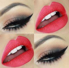 MakeUp Inspiration Lipstick Red Eyeliner Eyeshadow Eyebrow