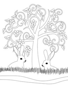 tree and rabbits