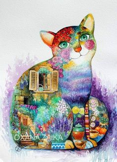 Cat from Provence Watercolour by Oxana Zaika