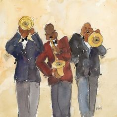 Samuel Dixon Solid-Faced Canvas Print Wall Art Print entitled Jazz Trio I Framed Canvas Prints, Canvas Frame, Canvas Wall Art, Wall Art Prints, Big Canvas, Impressionist Artists, Red Art, Figurative Art, Painting Prints