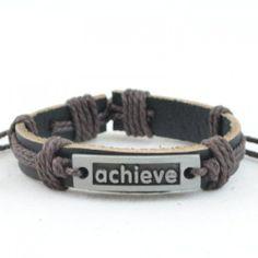 """ALPHA MAN Men's Fashion Accessories """"Achieve Your Dreams"""" Motivational Brown Thread-Woven Black Strap Faux Leather Bracelet"""