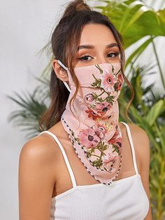 Floral Sun Protection For The Face Tie Dye Fashion, Fashion Face Mask, Camo Fashion, Womens Fashion, Face P, The Face, Easy Face Masks, Diy Face Mask, Bandana