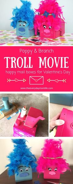 Dreamworks Troll Movie Card Boxes For Happy Mail Full Of Love on Valentine's Day