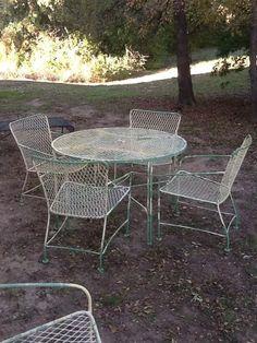 Vintage Mid Century Modern Wrought Iron Patio Furniture 6 Piece Set