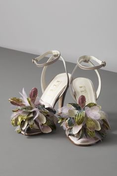 Agave Peep Toe Shoes by Something Bleu: Silk, velvet and leather. $350