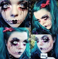 Creepy but sooo cool Halloween makeup Creepy Halloween Makeup, Looks Halloween, Halloween Cosplay, Holidays Halloween, Halloween Crafts, Halloween Doll, Creepy Makeup, Adult Halloween, Halloween Costumes