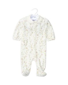 Ralph Lauren Childrenswear Infant Girls' Lace Trimmed Floral Knit Footie - Sizes…