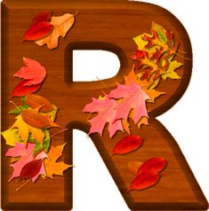 Presentation Alphabets: Cherry Wood Leaves Letter R