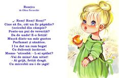 Doamna Fagilor: Prichindica Ronțica nu și-a spălat mărul... Craft Room Design, Kids Poems, Coloring Sheets For Kids, Kindergarten, Preschool, Education, Children, Activities, Bebe