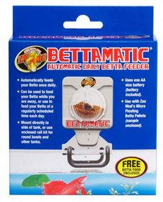 $15.17-$25.99 Zoo Med BettaMatic Automatic Daily Betta Feeder - This easy to use feeder will allow you to feed your Betta fish while you are away, or use it to feed your fish daily at a pre-set regular time. Automatically feeds your Betta once daily. Can be used to feed your Betta while you are away, or use to feed your Betta at a regularly scheduled time each day. Mount directly to side of tank, ...