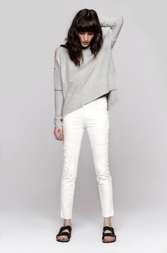 Current/Elliot Stiletto White Jean shown with Birkenstocks which are back in a big way!