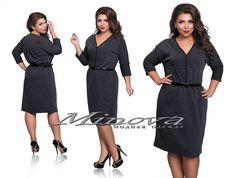 Платье №273 темно-серый - Платья размеры 48-64 - Minova интернет-магазин