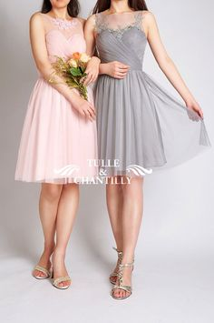 blush pink and light grey short lace and tulle bridesmaid dresses 2015