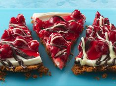 Cookie pizza for a crowd? This one has an easy crunchy bran cereal crust with a delicious cream cheese, cherry and chocolate top.