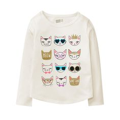 Toddler Girl Ivory Sparkle Cats Tee by Crazy 8