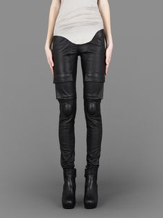 Rick Owens leather combo leggings with inserts at knee #rickowens via @missmetaverse www.futuristmm.com