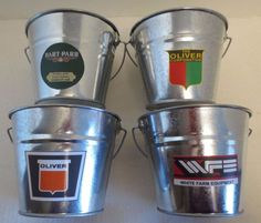 NEW OLIVER H-P WFE LOGO GALVANIZED PAIL (SET OF 4) A CENTURY OF TRACTOR POWER