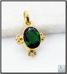 Emerald Cz Gems Stones 18 Ct Y.G. Plated Swirl Pendant L 1.25in Gppemcz-9607 http://www.riyogems.com