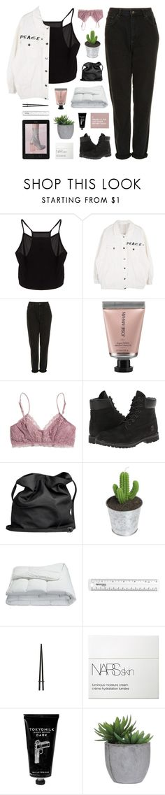"""""""i'm the one"""" by flying-baby-unicorn ❤ liked on Polyvore featuring Topshop, Kenzie, Josie Maran, Madewell, Timberland, Ann Demeulemeester, Frette, NARS Cosmetics, TokyoMilk and Lux-Art Silks"""