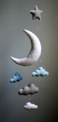 Modern Baby Blue Gray White Moon Felt Mobile door TheWhiteBirchTree