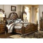 $2267.00  AICO Furniture - Venetian II Mansion Queen Poster Bed in Honey Walnut - AI-N68010-28
