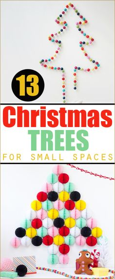 13 Christmas Trees for Small Living Spaces.  Creative Christmas Tree options for small rooms.  Wall Christmas Trees, DIY Christmas Decor.