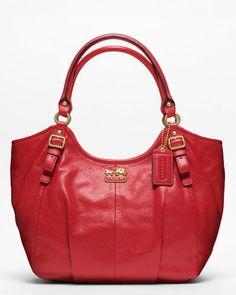 "Coach ""Madison"" Cherry Leather Abigail Shoulder Bag"
