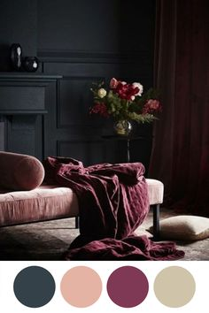If you wish to provide your living room a totally one-of-a-kind look, uniquely designed wall pieces is most likely the … Burgundy Room, Burgundy Walls, Burgundy Living Room, Dark Walls Living Room, Living Room Red, Living Room Decor, Bedroom Decor, Pink Color Schemes, Bedroom Color Schemes