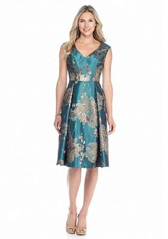 Adrianna Papell Printed Jacquard Fit-and-Flare Dress