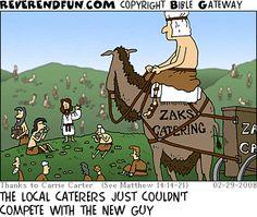 "ReverendFun.com : Cartoon for Feb 29, 2008: ""Zak's Catering"""