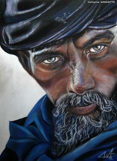 Catherine WERNETTE (©2014 artmajeur.com/catherinewernette) Homme du Sahara au regard perçant.