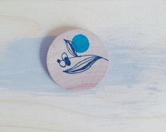 Illustrated Wood Brooch with Botanical Drawing and polka dot, Eco Friendly Gift, Blue, Unique