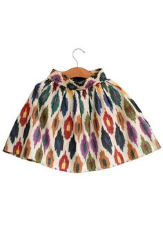 Spring/summer 2014. Dia skirt. Multi-color diamonds in ikat fabric. Pockets on the seams.