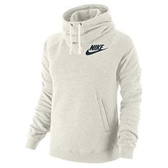 Nike Rally Funnel Neck PO Hoodie - Women's - Casual - Clothing - Sail Heather/Armory Navy as large as it comes! Nike Joggers, Nike Hoodie, Nike Outfits, Casual Outfits, Women's Casual, Nike Headbands, Nike Sweatshirts, Nike Shoes Outlet, Outfits