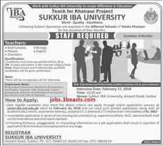 Jobs available in IBA Sukkur for Teaching faculty advertised 14-02-18