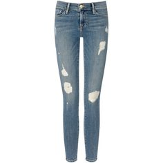 Frame Denim Kitty Hawk Le Skinny De Jeanne Jeans ($91) ❤ liked on Polyvore featuring jeans, pants, bottoms, jeans/pants, faded skinny jeans, stretch skinny jeans, skinny fit jeans, zipper skinny jeans and super stretch skinny jeans