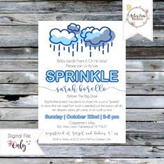"""Baby Shower Invitation // Rain Sprinkle // Blue and Gray // 5""""x7"""" // Personalized Printable by AsterLaneDesign on Etsy https://www.etsy.com/listing/559413798/baby-shower-invitation-rain-sprinkle"""