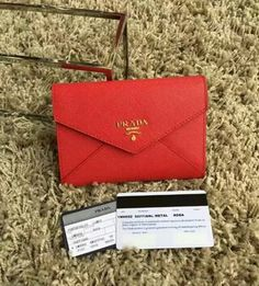 Latest Prada Saffiano Letter leather wallet red