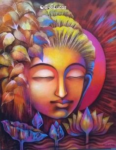 Buy Buddha artwork number a famous painting by an Indian Artist Prabal Roy. Indian Art Ideas offer contemporary and modern art at reasonable price. Budha Painting, Zen Painting, Mural Painting, Painting Canvas, Oil Pastel Paintings, Indian Art Paintings, Paintings Online, Buddha Artwork, Buddha Kunst