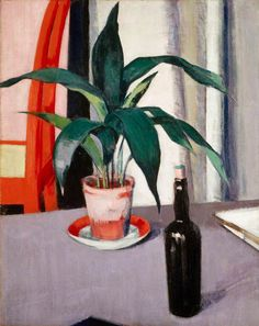 The Athenaeum - Aspidistra and Bottle on Table (Francis Campbell Bolleau (F.C.B.) Cadell - )